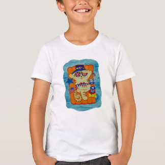 Fourth of July Cat in Hat with Mouse and Fish T-Shirt