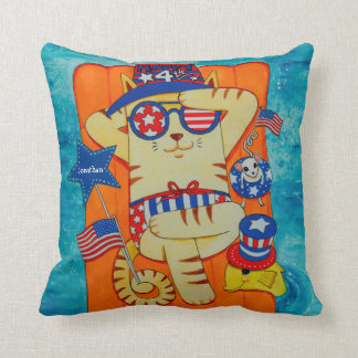 Fourth of July Cat in Hat with Mouse and Fish Throw Pillow