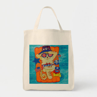 Fourth of July Cat in Hat with Mouse and Fish Tote Bag