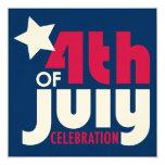 "Fourth of July Celebration Invitation 5.25"" Square Invitation Card"