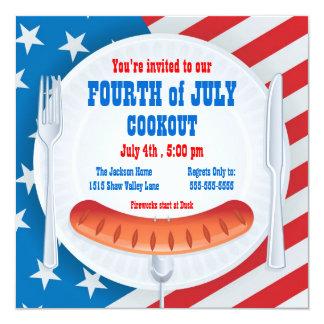 "Fourth of July Cookout Invitation 5.25"" Square Invitation Card"