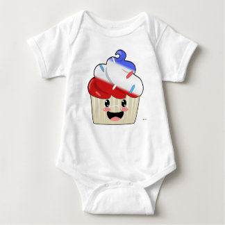 Fourth of July Cupcake Baby Bodysuit