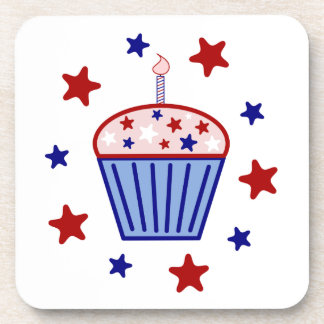 Fourth of July Cupcake Drink Coasters