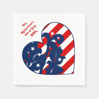 Fourth of July diagonal heart Paper Napkin