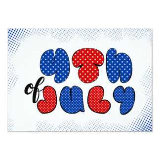 Fourth of July doodle sign, patriotic flag colors Card