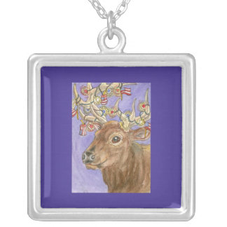 Fourth of July Elk Personalized Necklace