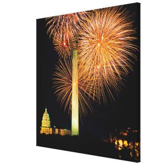 Fourth of July, Firework Display, Skyline Canvas Print