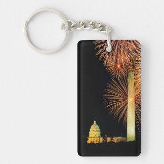 Fourth of July, Firework Display, Skyline Keychain
