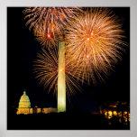 Fourth of July, Firework Display, Skyline Poster