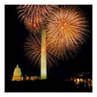 Fourth of July, Firework Display, Skyline Poster