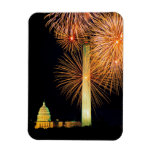 Fourth of July, Firework Display, Skyline Rectangular Photo Magnet