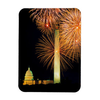 Fourth of July, Firework Display, Skyline Rectangular Magnet