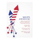 Fourth of July Firework Rockets BBQ Invitation
