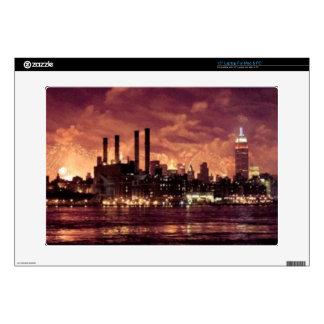 """Fourth of July Fireworks behind Manhattan 15"""" Laptop Decals"""
