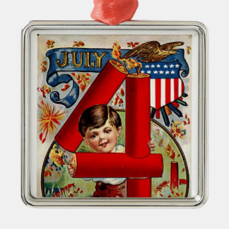 Fourth of July Fireworks Boy Ornament