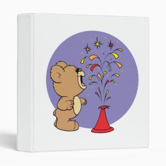 fourth of july fireworks cute teddy bear 3 ring binder