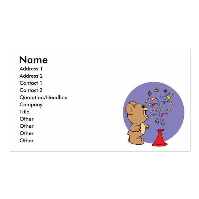 fourth of july fireworks cute teddy bear business card