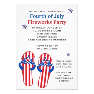 Fourth of July Fireworks Party Personalized Invites