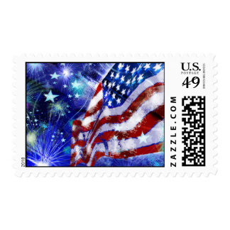 Fourth of July Flag and Fireworks Postage Stamp