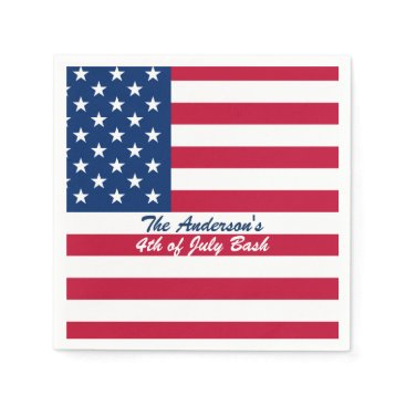 USA Themed Fourth of July Flag Print Paper Napkin