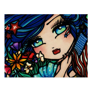 Fourth of July Flag Star Mermaid Fantasy Postcard