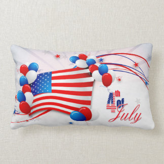 Fourth of July Flag & Streamers 1 Lumbar Pillow