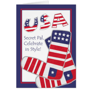 Fourth of July for Secret Pal, Patriotic Socks Card