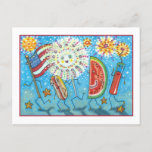 FOURTH OF JULY GANG, PARADE & FIREWORKS HOLIDAY POSTCARD