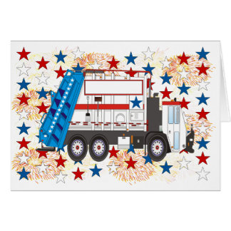 Fourth of July Garbage Truck Greeting Card