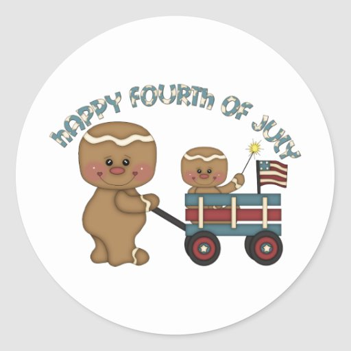 Fourth of July Gingers Boys Classic Round Sticker