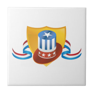 Fourth of July Hat and Shield Banner Tile