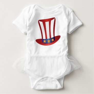 Fourth of July Hat Gold Stars Illustration Baby Bodysuit