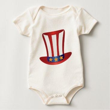 USA Themed Fourth of July Hat Gold Stars Illustration Baby Bodysuit