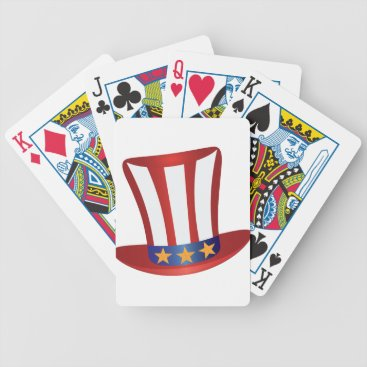 USA Themed Fourth of July Hat Gold Stars Illustration Bicycle Playing Cards