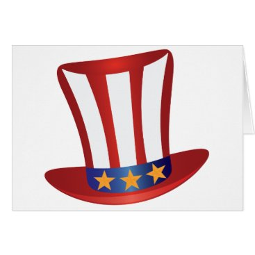 USA Themed Fourth of July Hat Gold Stars Illustration Card