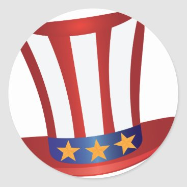 USA Themed Fourth of July Hat Gold Stars Illustration Classic Round Sticker