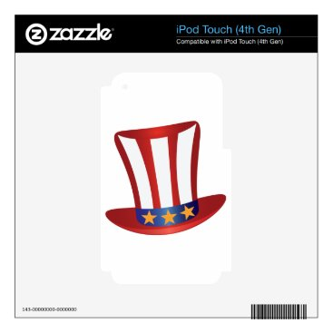 USA Themed Fourth of July Hat Gold Stars Illustration iPod Touch 4G Decals
