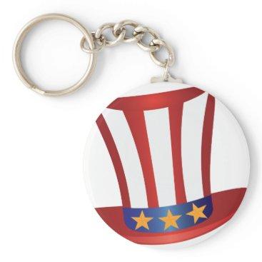 USA Themed Fourth of July Hat Gold Stars Illustration Keychain