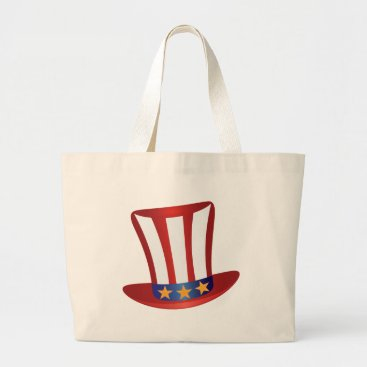USA Themed Fourth of July Hat Gold Stars Illustration Large Tote Bag