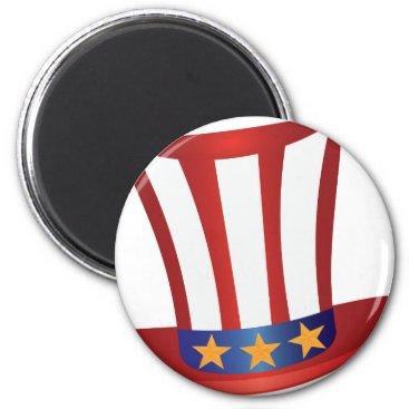 USA Themed Fourth of July Hat Gold Stars Illustration Magnet