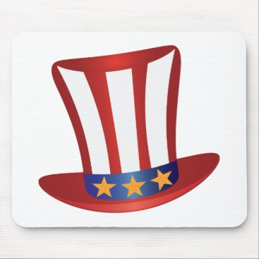 USA Themed Fourth of July Hat Gold Stars Illustration Mouse Pad