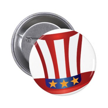 USA Themed Fourth of July Hat Gold Stars Illustration Pinback Button