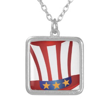 Fourth of July Hat Gold Stars Illustration Silver Plated Necklace
