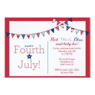 Fourth of July Independence Day Baby Shower 3.5x5 Paper Invitation Card