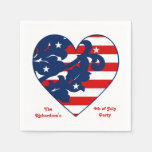 Fourth of July Independence Day patriotic heart Disposable Napkin