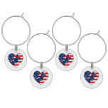 Fourth of July Independence Day patriotic heart Wine Charms