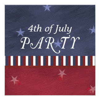 Fourth of July Independence Day Square Custom Invitation