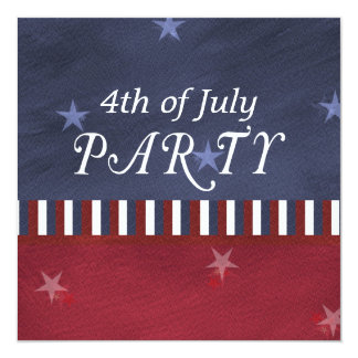 Fourth of July Independence Day Square 5.25x5.25 Square Paper Invitation Card