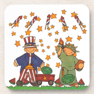 Fourth of July Independence Day Uncle Sam Lady Lib Beverage Coaster