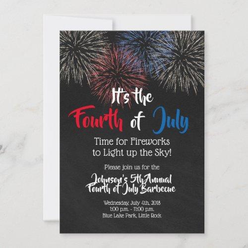 Fourth of July Invitation Fireworks